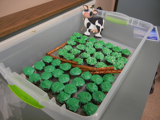 Grass-fed theme cupcake refreshments!
